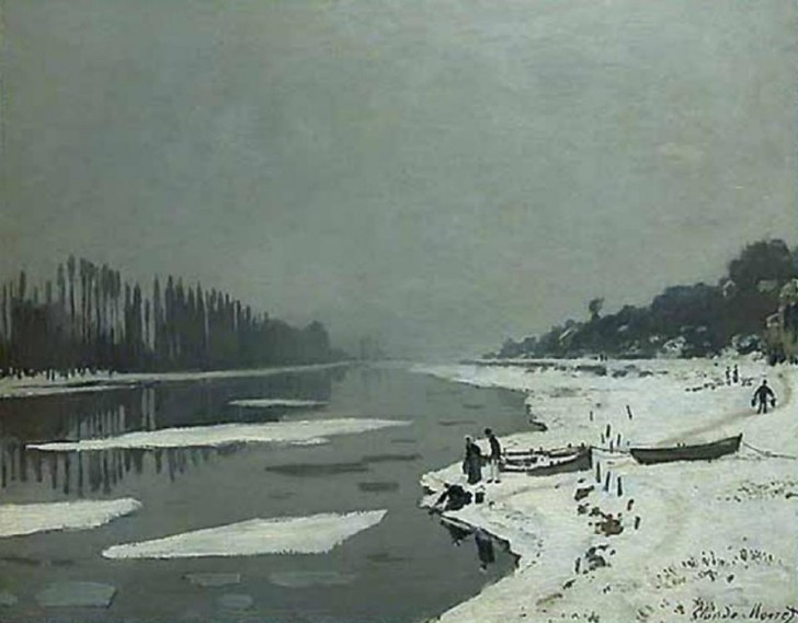 Ice on the Seine at Bougival_Monet